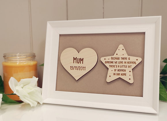 Memorial Heart and Star Quote Frame
