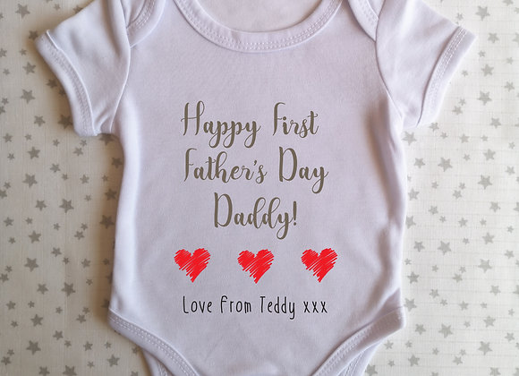 First Father's Day Personalised Baby Grow - Bodysuit Onesie