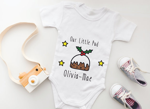 Personalised Christmas Baby Grow 'Our Little Pud' - Bodysuit Onesie