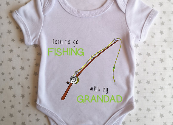 Personalised Baby Grow Born To Go Fishing With -  Bodysuit - Onesie