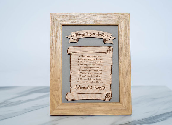 10 Things I Love About You - Personalised Engraved Oak Frame