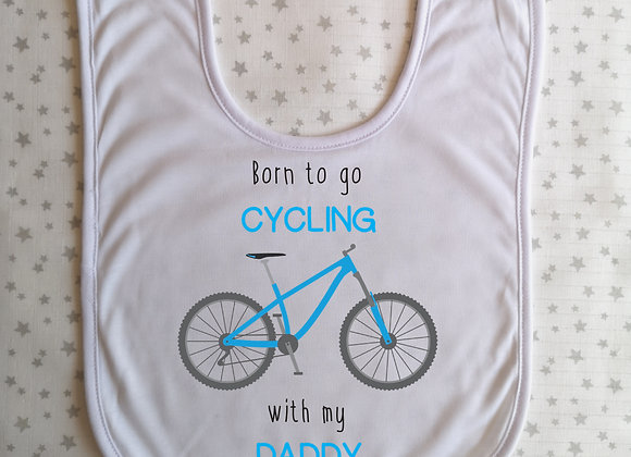 Personalised Baby Bib Born To Go Cycling With