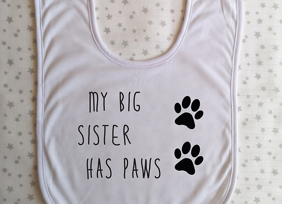Personalised Baby Bib My Big Brother Sister Has Paws