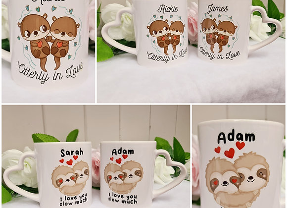 Cute Valentine's Day Otter/Sloth Mugs (set of 2)