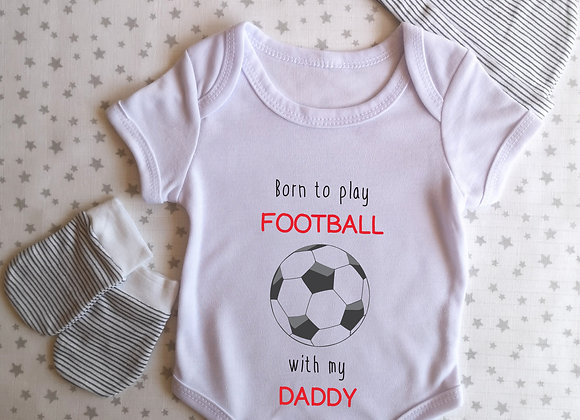 Personalised Baby Grow Born To Play Football With - Bodysuit - Onesie