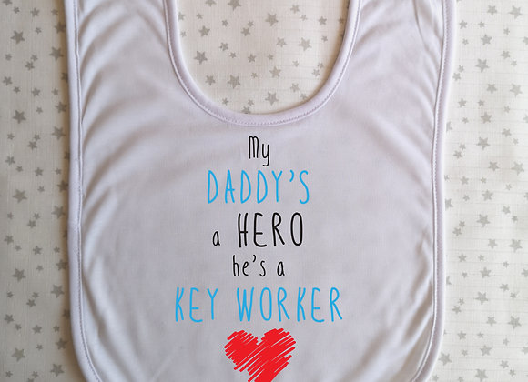 Personalised Baby Bib Key Worker Hero