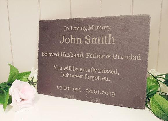 Memory Slate - Temporary Grave Marker - Memorial Plaque