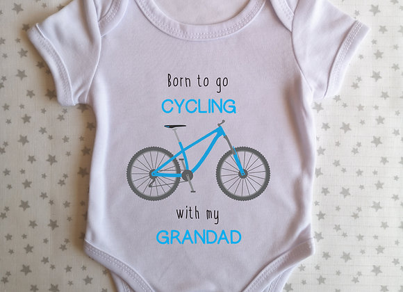 Personalised Baby Grow Born To Go Cycling With - Bodysuit - Onesie