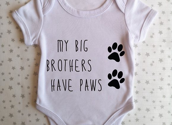 Personalised Baby Grow - My Big Sister Brother Has Paws - Bodysuit - Onesie
