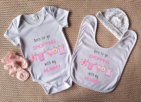 Personalised Bodysuit & Bib Set - Born To Go Shopping With - Onesie - Baby Grow