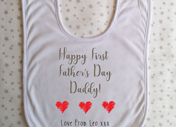 First Fathers Day Personalised Baby Bib