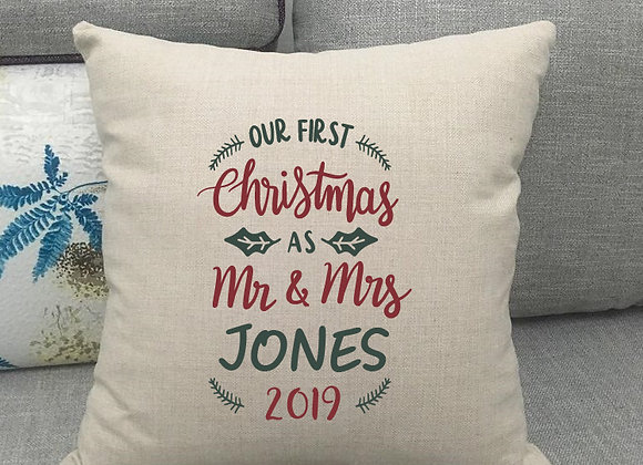 First Christmas As Mr & Mrs 'Surname' Cushion Cover