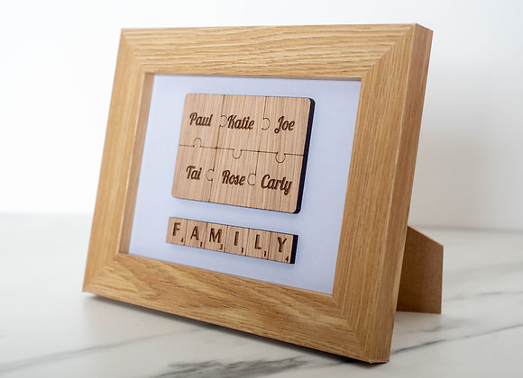 Family Puzzle Frame - Engraved Oak