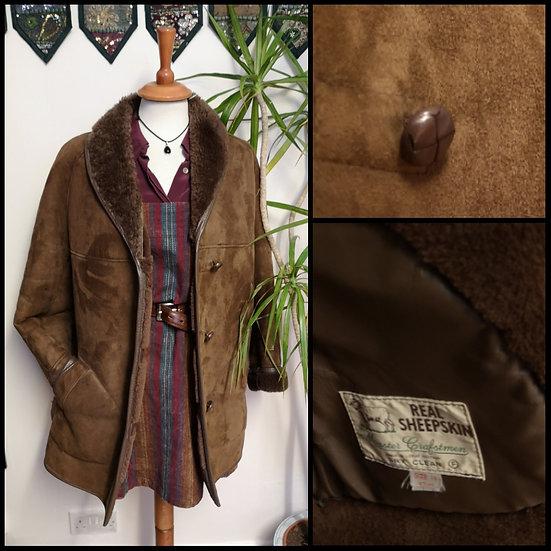 Vintage 70's 80's LeatherSheepskin Coat Jacket Size S/M