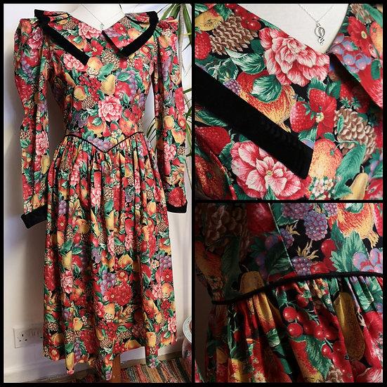 Vintage 80's Fruity Floral Print Midi Dress with Velvet Size XS/S