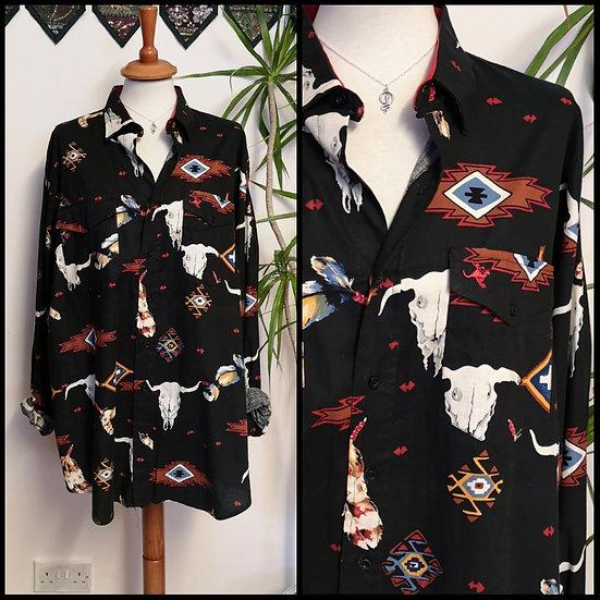 Vintage 90's Native American Western Shirt Unisex Size L/XL