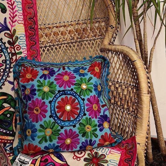 Fairtrade Colourful Embroidered Boho Cushion Cover - Blue