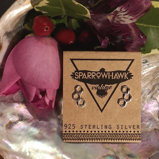 Sterling Silver Big Honeycomb Ear Studs