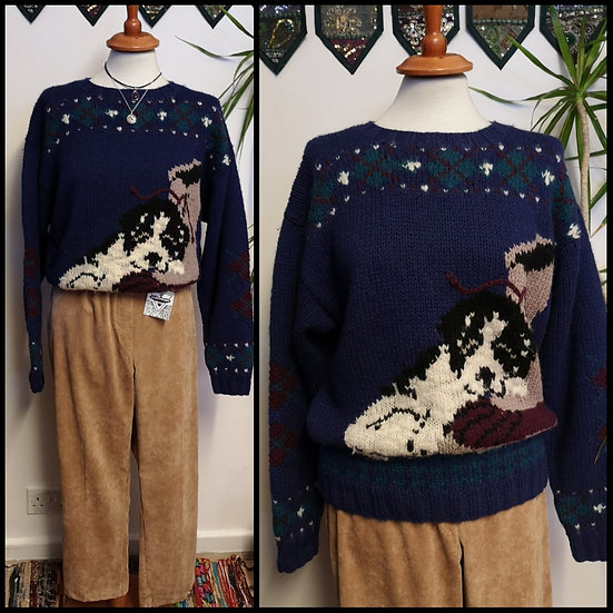 Vintage 90's Pure Wool Puppy Design Jumper Size M/L