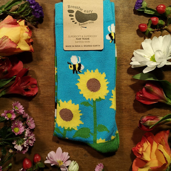 Bee & Sunflower Bamboo Socks (2 Sizes Available)