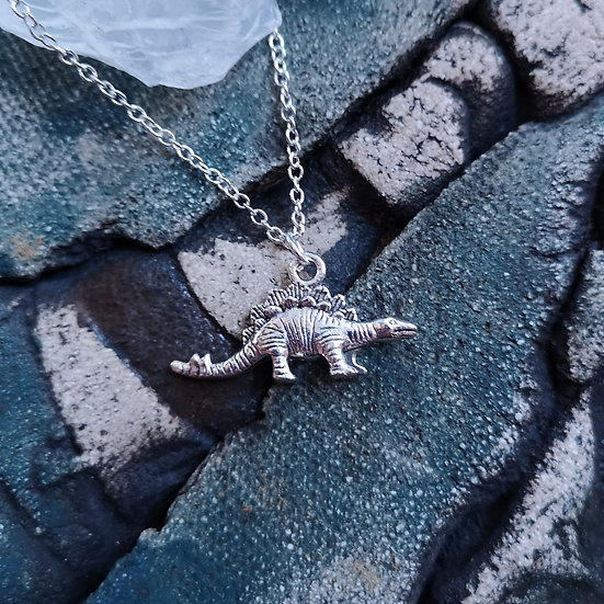 Silver Plated Stegosaurus Dinosaur Charm Necklace Cable Chain 18""