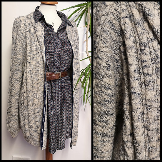 Vintage 90's Flecked Cable Knit Zip Cardigan Unisex Size XL