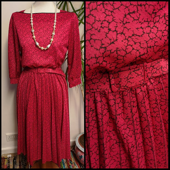 Vintage 80's Crackle Print Midi Dress Size S/M