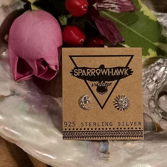 Sterling Silver Sun & Moon Ear Studs