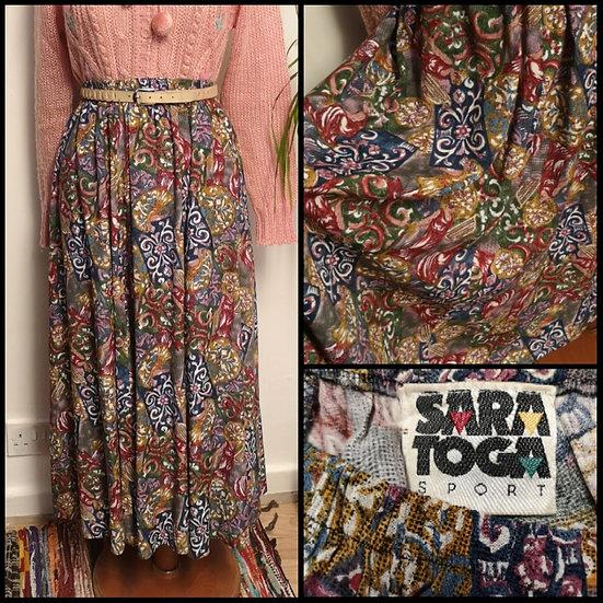 Vintage 90's Romanesque Print Midi Skirt Size M