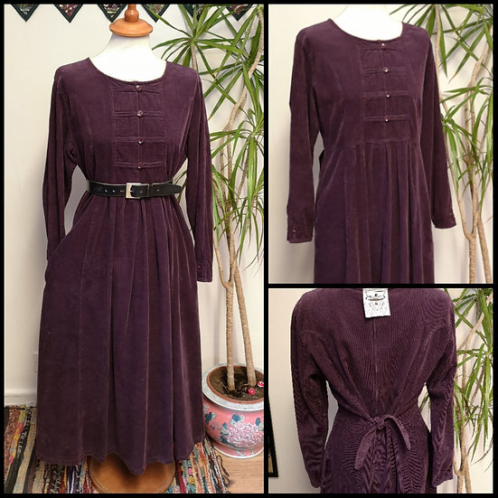 Vintage 80's/90's Aubergine Cotton Cord Prairie Dress Size M