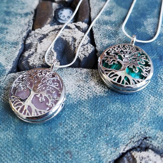 "Tree of Life Gemstone Locket Pendant Necklace Snake Chain 20"" (Choose Gemstone)"