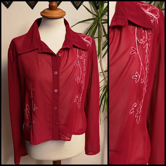 Vintage 90's Sheer Embroidered Blouse Size Size M/L
