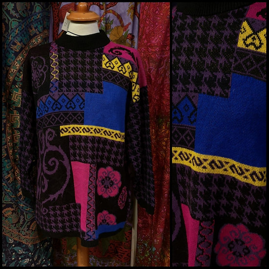 Vintage 80's/90's High-Neck Funky Graphic Jumper Size M US Import