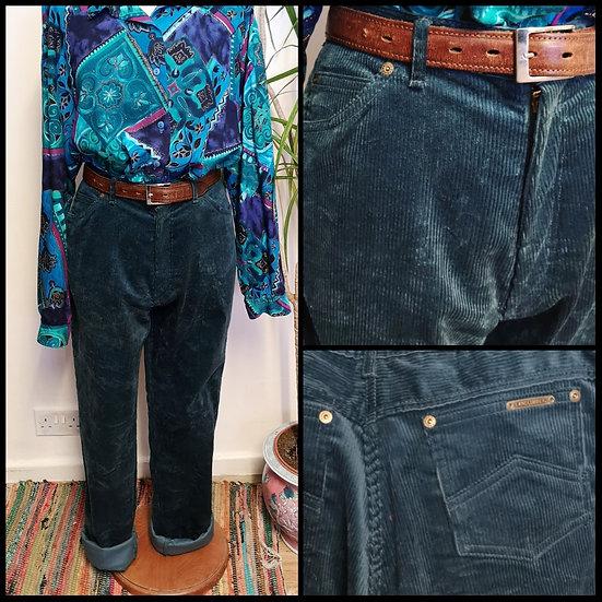 Vintage 90's Peacock Blue Cord Jeans UNISEX Size S/M