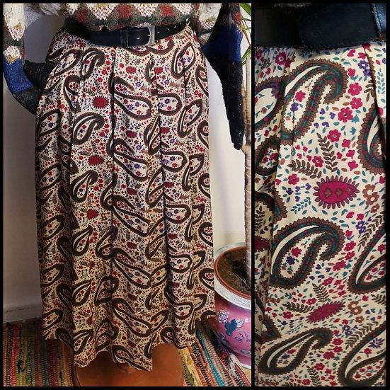 Vintage 80's Folksy Paisley Midi Skirt Size S/M