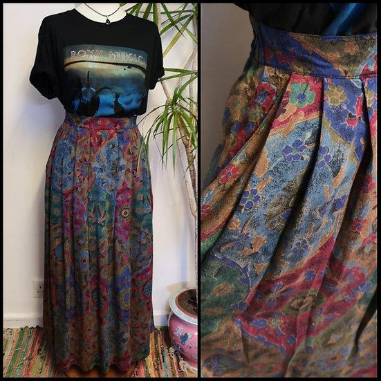 Vintage 80's 90's Orvis Mixed Pattern Midi Skirt Size M/L