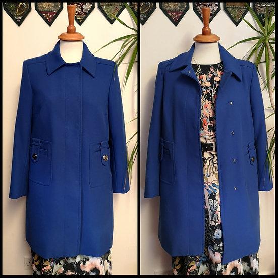 Retro 60's Style Electric Blue M&S Coat Jacket Size S