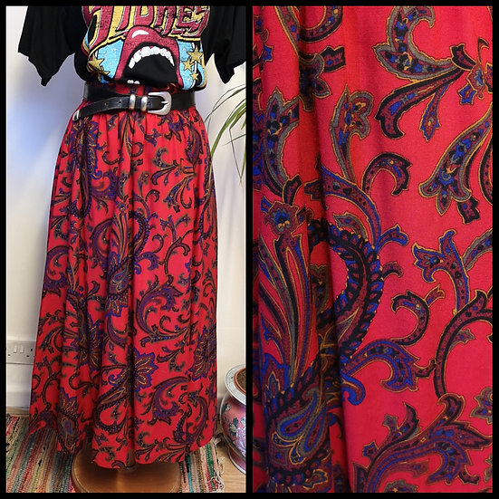 Vintage 80's Red Paisley Midi Skirt Size S