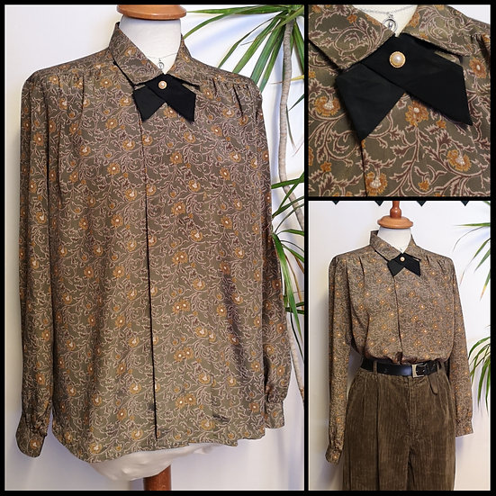 Vintage 70's/80's Folksy Floral Pattern Blouse with Bow Size M