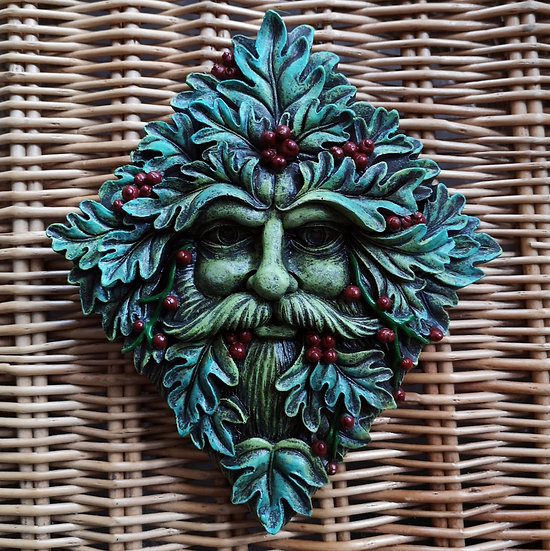 Textured Green Man Wall Plaque with Berries 20cm