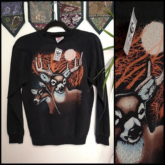 Vintage 90's US Wildlife Animal Deer Stag MoonSweatshirt Size S