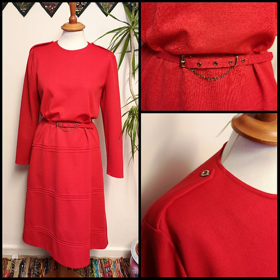 Vintage 70's Red Belted Midi Dress with Chain Size M/L