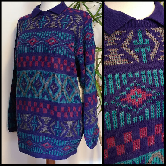 Vintage 80's/90's Tribal Knit Jumper with Collar Unisex Size M/L