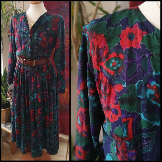 Vintage 80's Monsoon Floral Midi Dress Size S/M