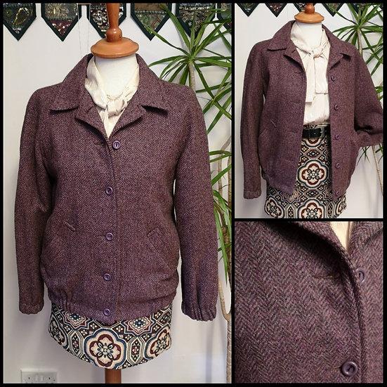 Vintage 70's/80'sWool Herringbone Tweed Bomber Jacket Size S