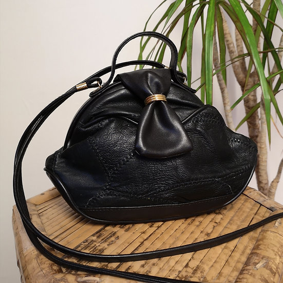Vintage 80's Real Leather Patchwork Cross-Body Handbag with Bow Clasp