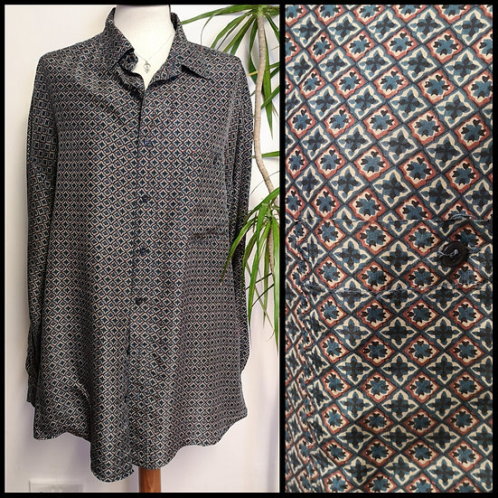 Vintage 90's Pure Silk Monogram Pattern Shirt UNISEX Size XL