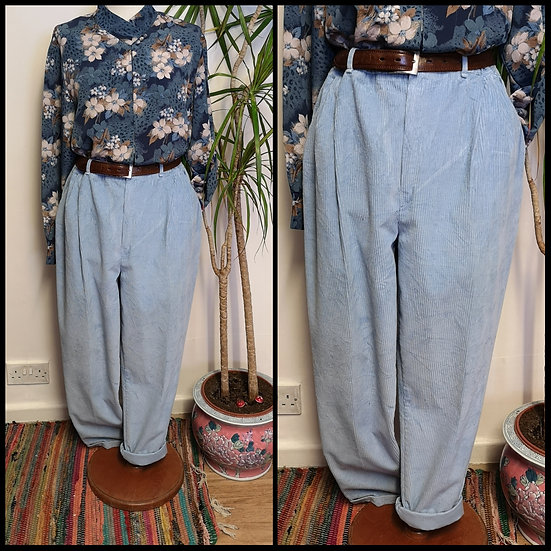 Vintage 80's/90's Powder Blue Cord Trousers Elasticated Size M/L