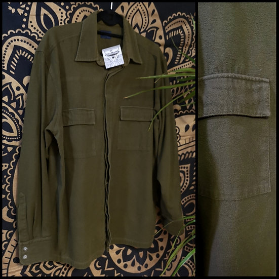 Vintage 90's Brushed Heavy Cotton Military Style Shirt Size M