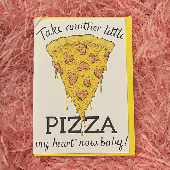 'Little Pizza My Heart' Illustrated Valentine's Card A6